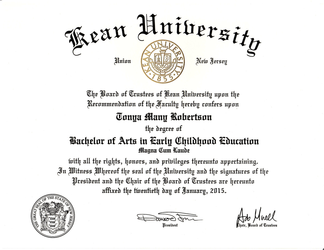official documents tonya robertson s e portfolio kean university diploma b a early childhood education magna cum laude